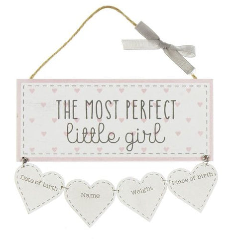 The Most Perfect Little Girl Keepsake Sign - Personalised