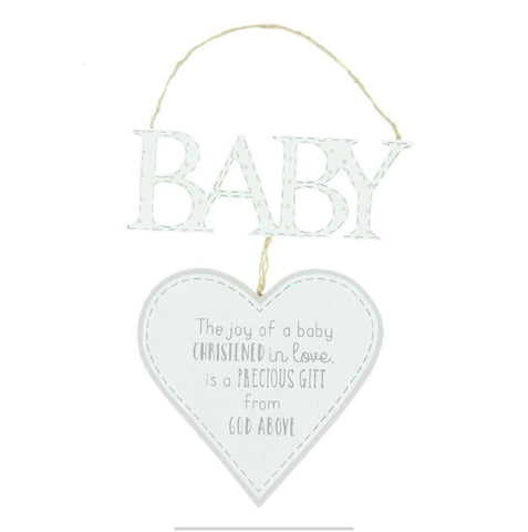 Baby Christening Hanging Heart Decoration