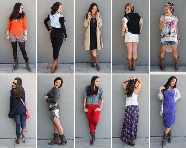 woman wearing cowgirl boots with 10 different outfits