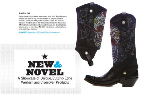 black cowgirl boots with a sugar skull design on a black cowboy boot cover