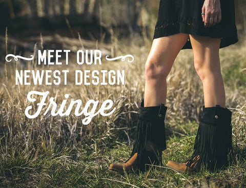 Fringe design for bootroxx boot covers with person wearing them in a grassy field