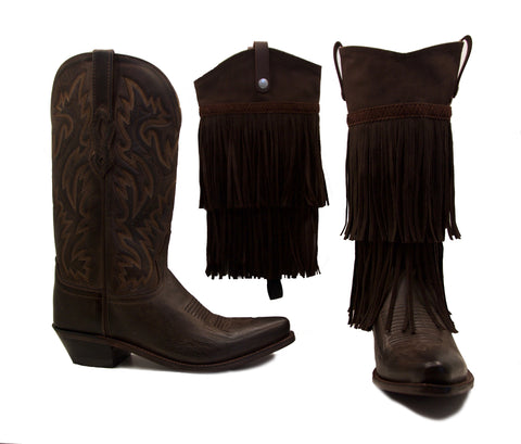 dark brown cowboy boots, one without boot cover, one with fringe boot cover
