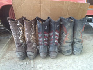 three dirty cowgirl boots