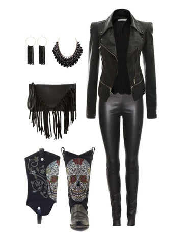 all black outfit with leather jacket, leather pants, cowboy boots and a fringe purse