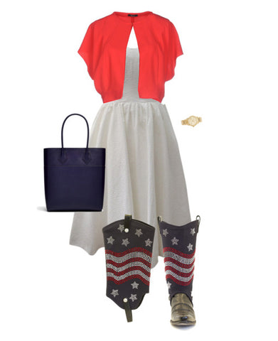 white dress, red cardigan, and american flag cowboy boot covers