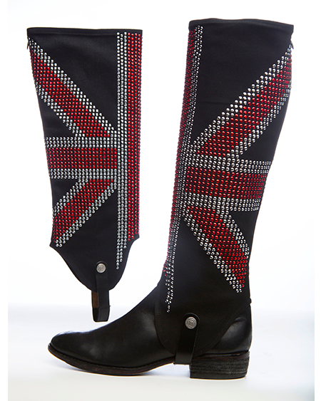 Black equestrian boots with equestrian boot covers with a british flag design