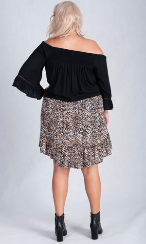 ROUCHED HIGH LOW SKIRT