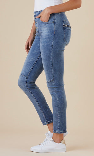 ALBERTINA BUTTON-ZIP JEANS