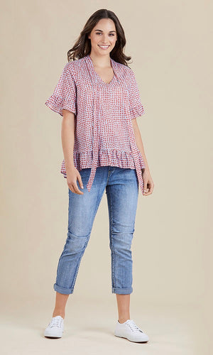 CHECKED NECK TIE BLOUSE