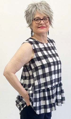 FRILLED CHECK TUNIC