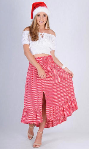 ROUCHED BUTTON SKIRT