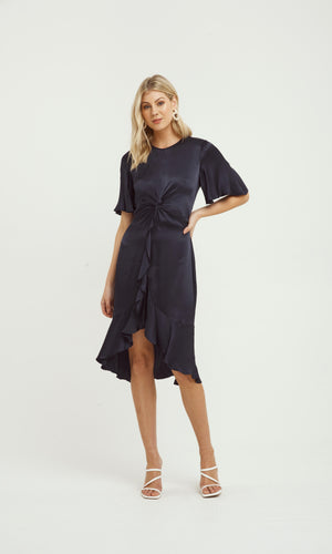OASIS TWIST DETIAL FRILL DRESS