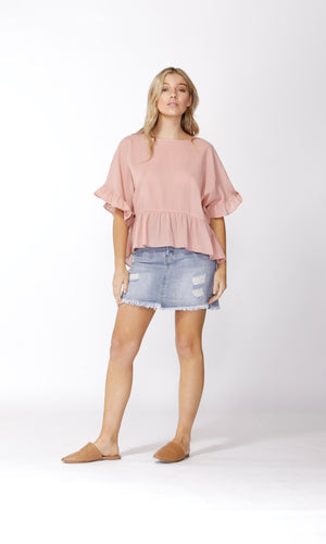 RUFFLE CHECK TOP