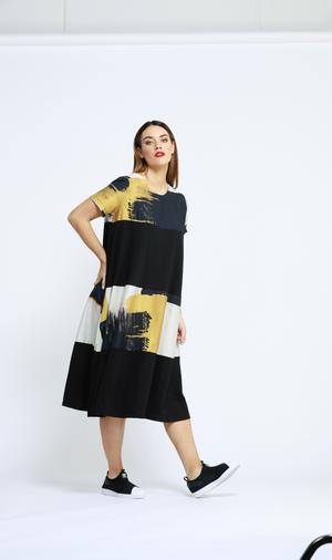 SPLICED PRINT DRESS