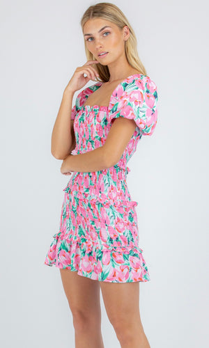 FRILL TIER MINI DRESS