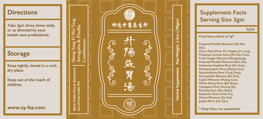 Sheng Yang Yi Wei Tang 升陽益胃湯 Astragalus & Pinellia Combination