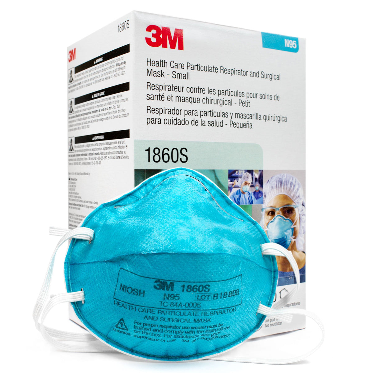 3m 1860s particulate respirator and surgical mask small pack of 20