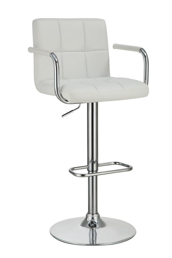 Contemporary White and Chrome Adjustable Bar Stool with Arms