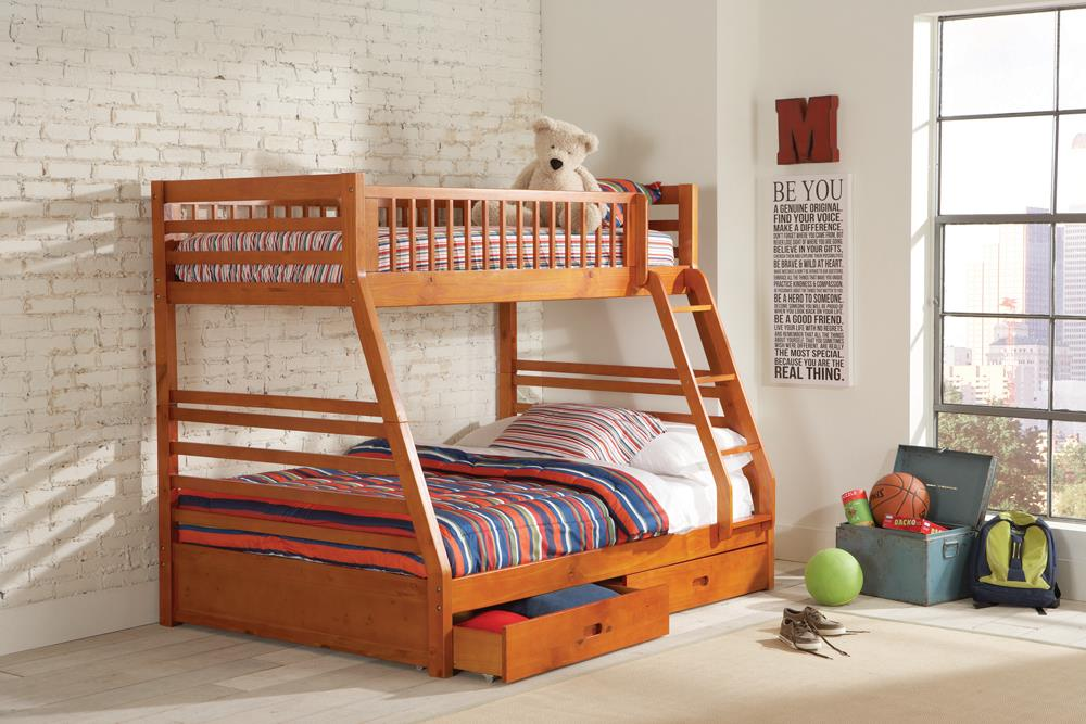 Ashton Honey Twin-over-Full Bunk Bed