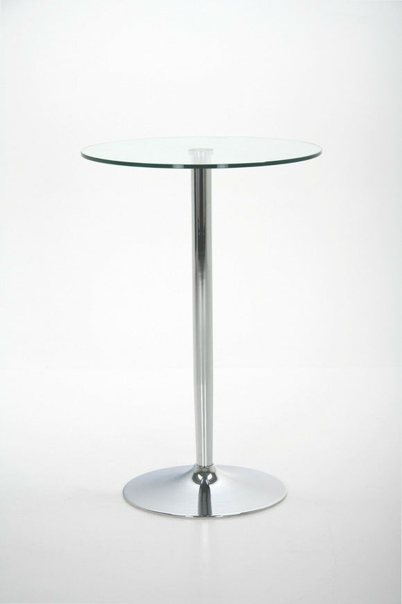HLBT29CCII - Clear Glass Bar Table With Stainless Steel Frame