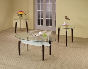 Occasional Table Sets Contemporary Cappuccino Round Three-Piece Set