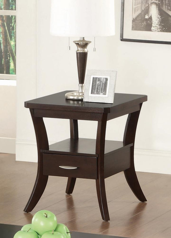Occasional Transitional Espresso End Table