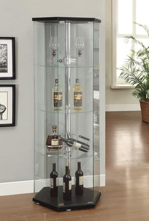 Open image in slideshow, Traditional Glass Hexagon Curio Cabinet