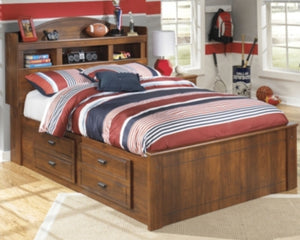 Barchan Signature Design by Ashley Bookcase Bed with 2 Storage Drawers