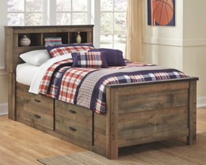 Trinell Signature Design by Ashley Bookcase Bed with 2 Storage Drawers