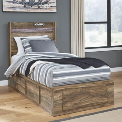 Rusthaven Signature Design by Ashley Bed with 5 Storage Drawers
