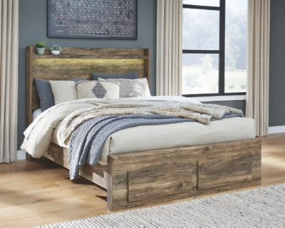 Rusthaven Signature Design by Ashley Bed with 2 Storage Drawers