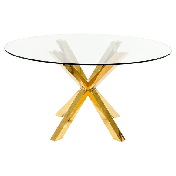 HLT06GCII Round Dinning Table With Gold Base Include 2 Chairs