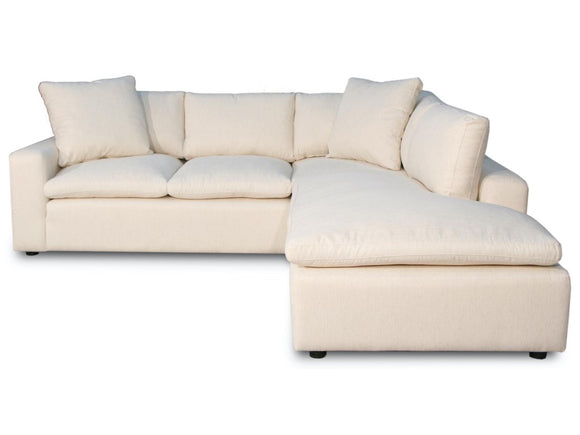 Golder Cream Sofa Sectional with Bumper Chaise