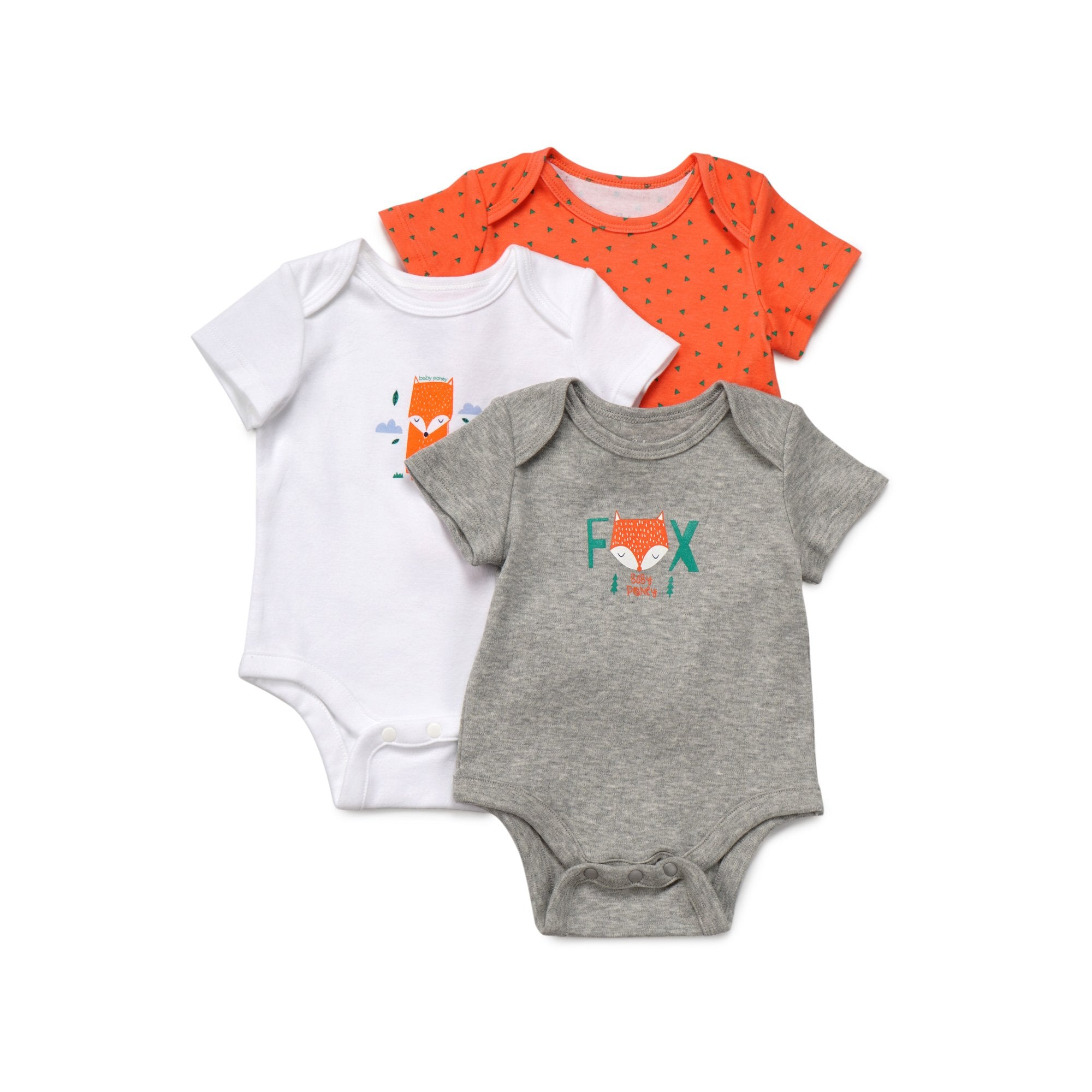 Poney Essential Boys 3-Pack Short Sleeve Bodysuits 80011