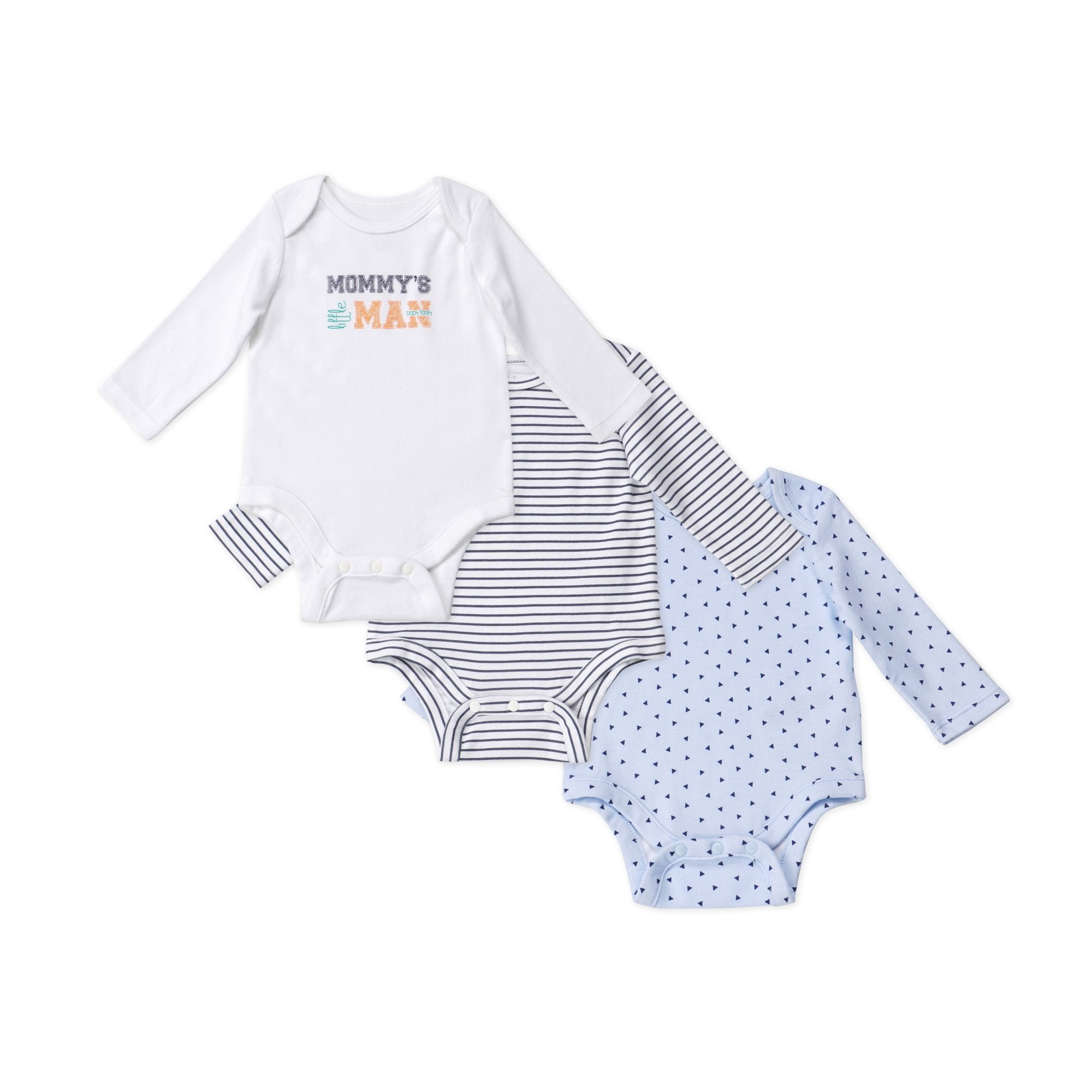 Poney Essential Boys 3-Pack Long Sleeve Bodysuits 80013