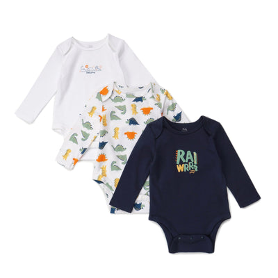 Poney Essential Boys 3-Pack Long Sleeve Bodysuits 80015