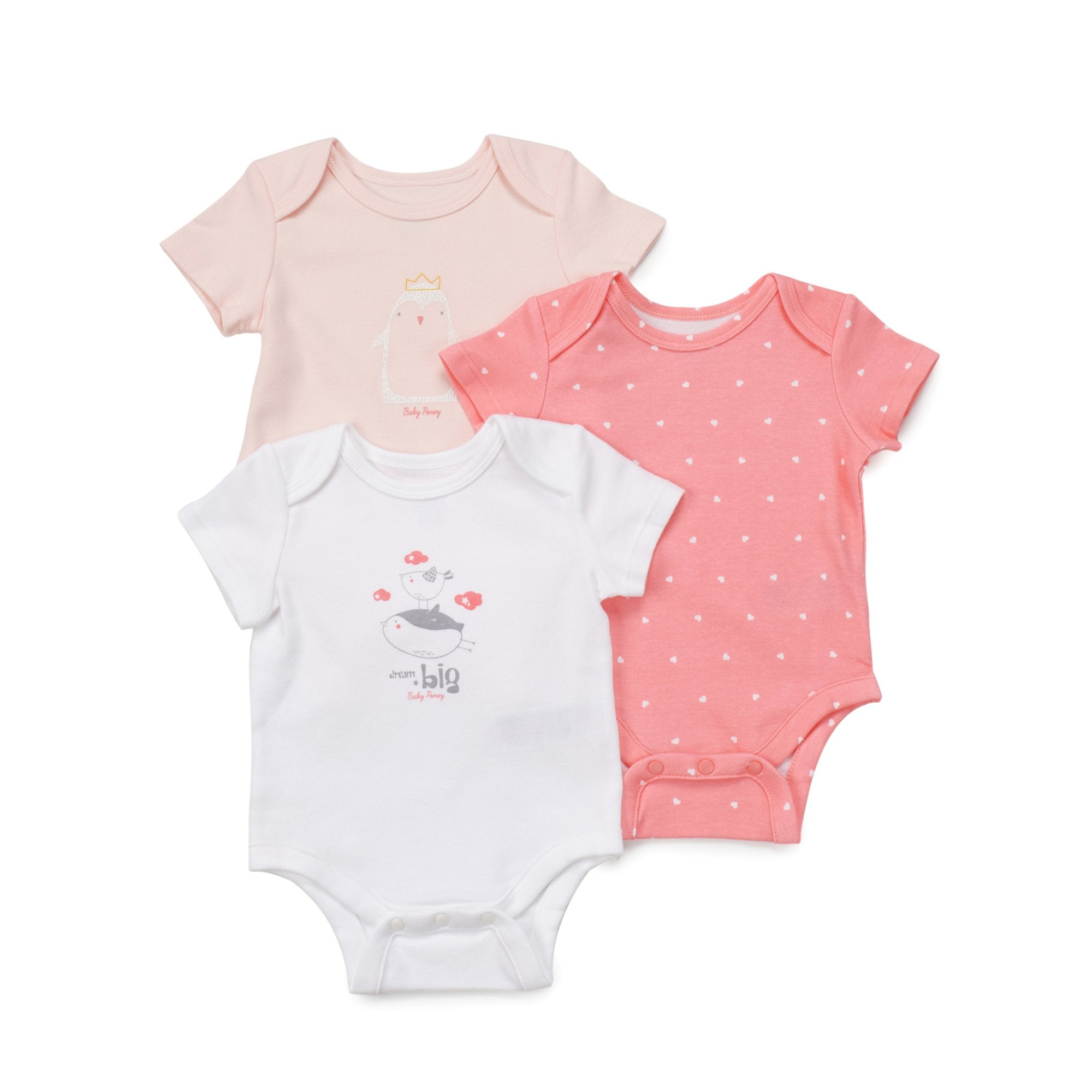 Poney Essential Girls 3-Pack Short Sleeve Bodysuits 80043