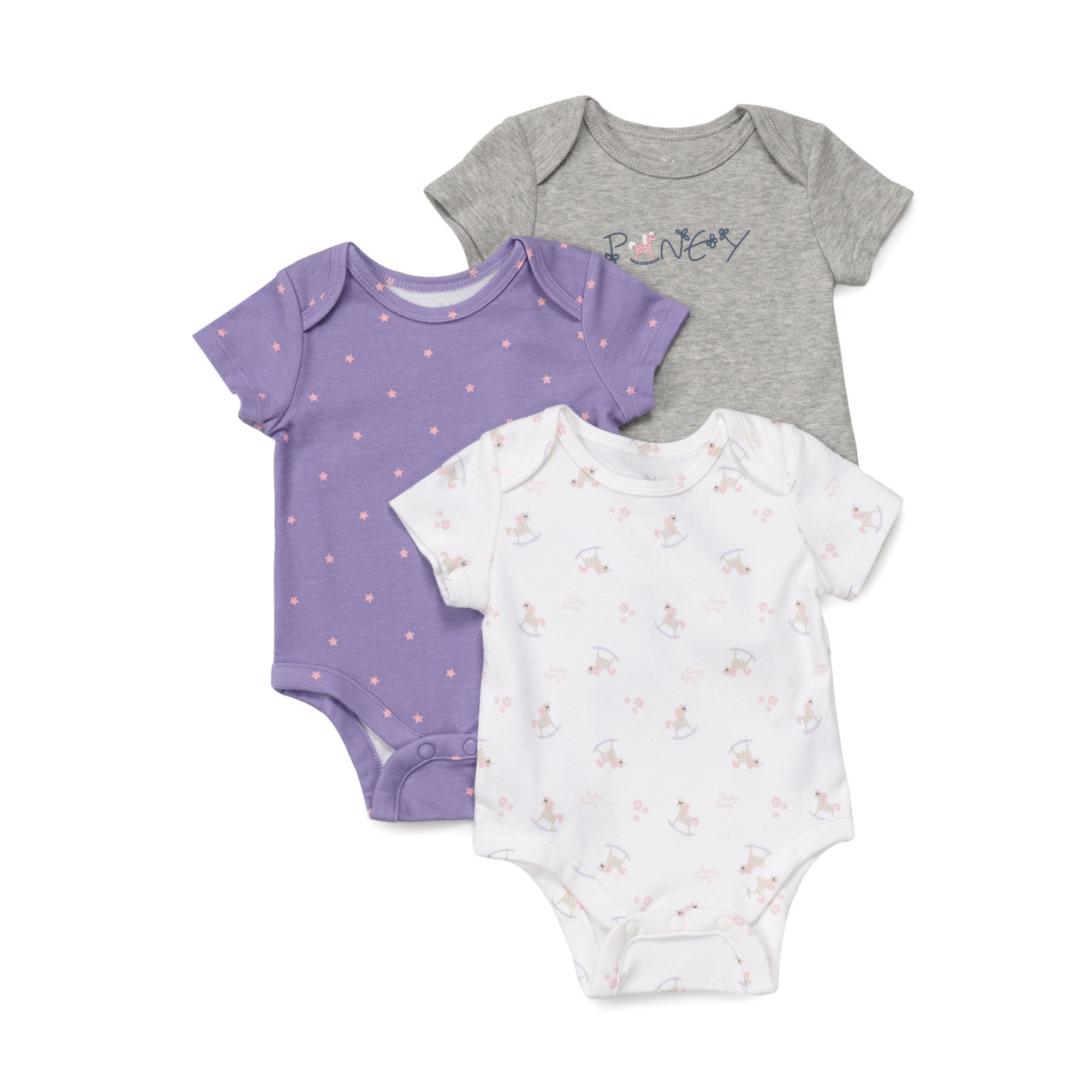 Poney Essential Girls 3-Pack Short Sleeve Bodysuits 80045