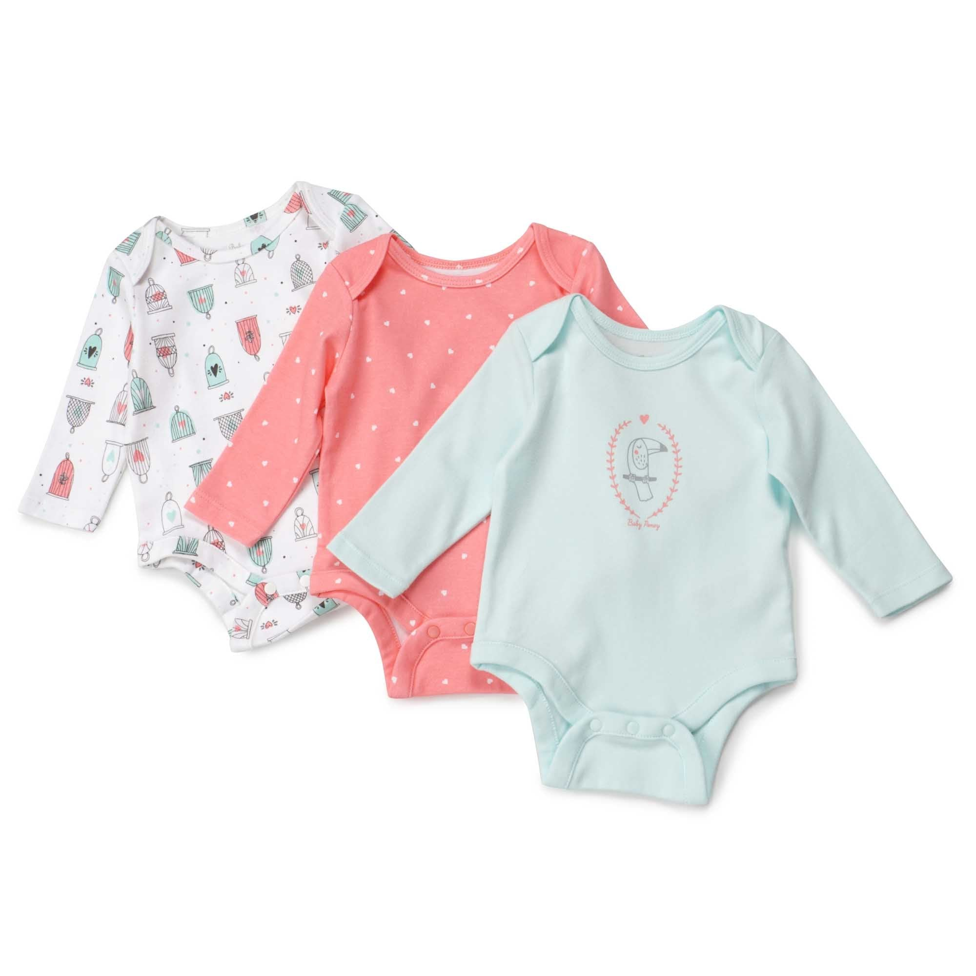 Poney Essential Girls 3-Pack Long Sleeve Bodysuits 80046