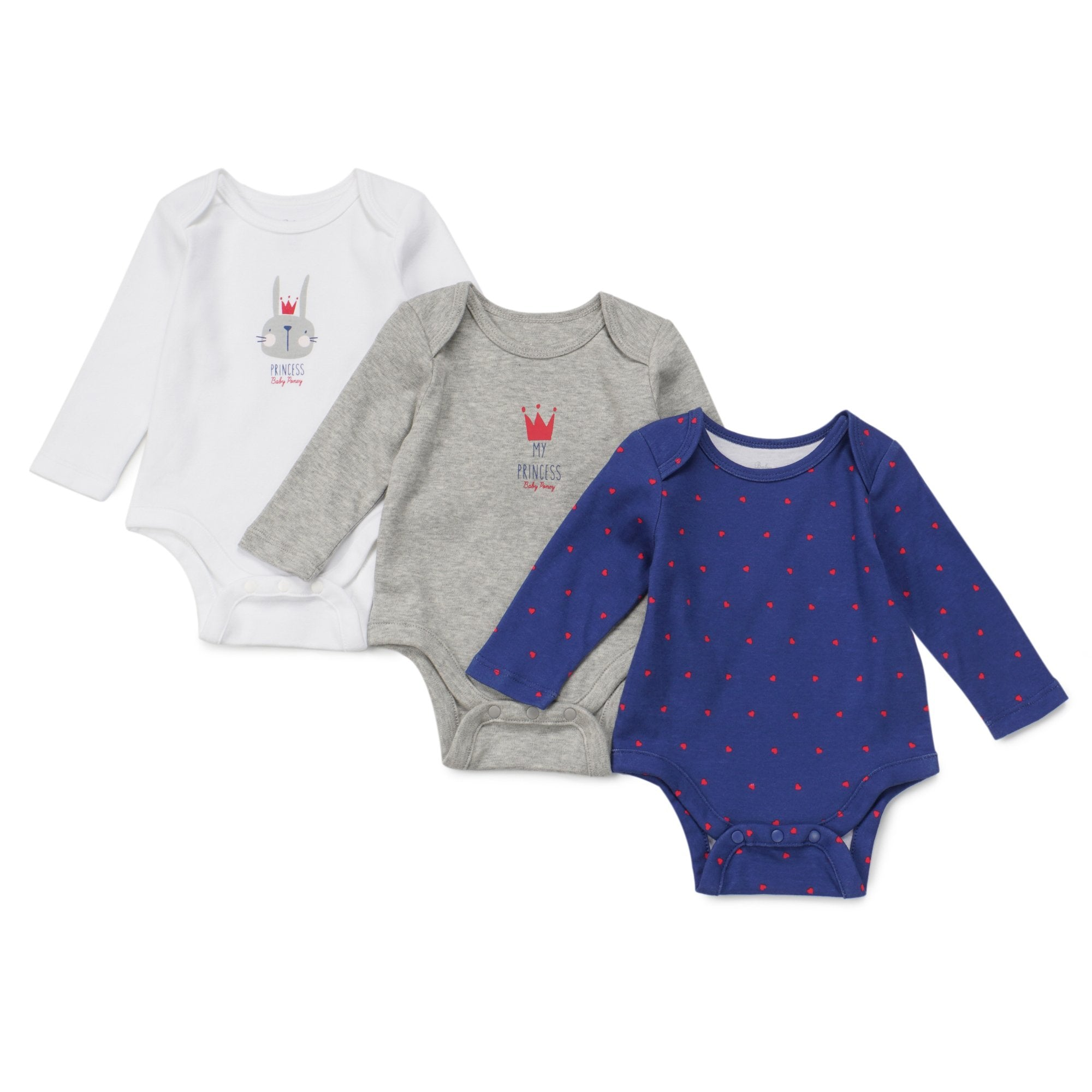 Poney Essential Girls 3-Pack Long Sleeve Bodysuits 80047