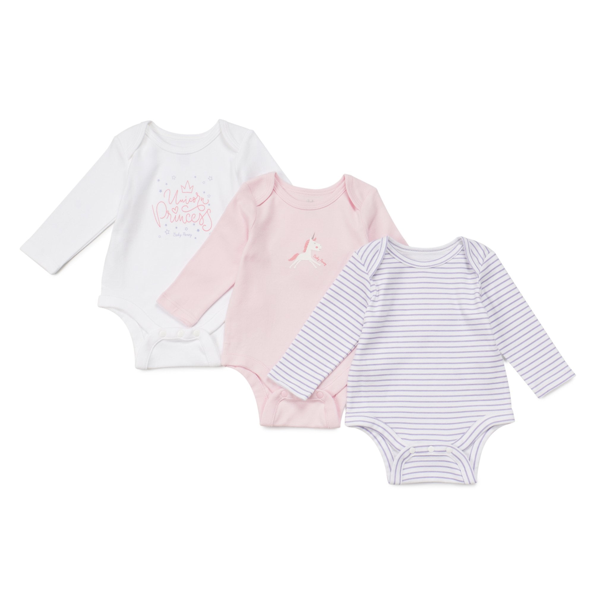 Poney Essential Girls 3-Pack Long Sleeve Bodysuits 80048