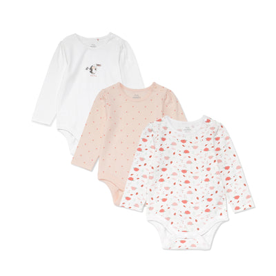 Poney Essential Girls 3-Pack Long Sleeve Bodysuits 80478