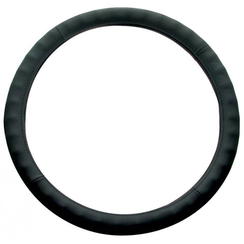 "18"" black leather steering wheel cover"