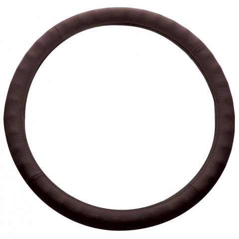 "18"" dark brown leather steering wheel cover"