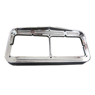 Flatline chrome plastic dual rectangular headlight bezel w/amber LED lights - CLEAR lens