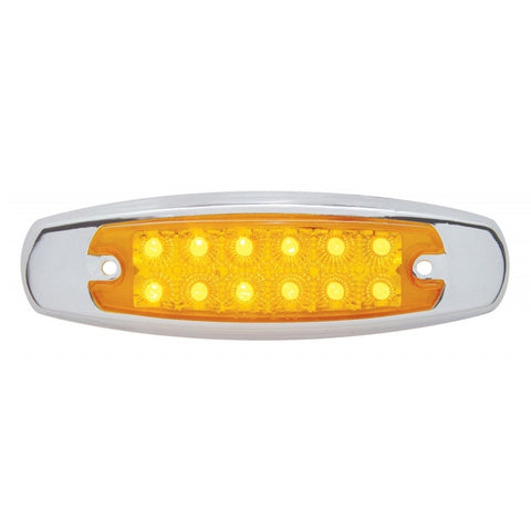 Amber Peterbilt-style 12 diode LED marker light w/reflector