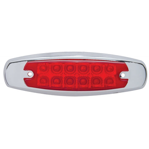 Red Peterbilt-style 12 diode LED marker light w/reflector