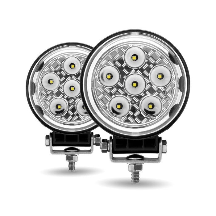 """Radiant Series"" White 9 diode LED work light with side diodes - PAIR, 1080 lumens"