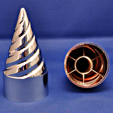 33mm chrome plastic twisted/spiral spike thread-on lugnut cover w/flange