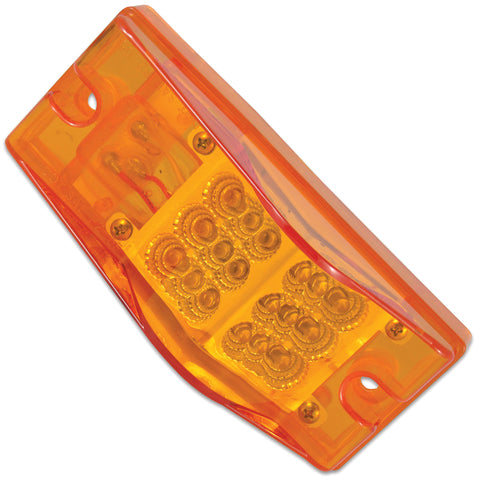 "Amber 2"" x 6"" rectangular 18 diode LED turn signal light w/hump"